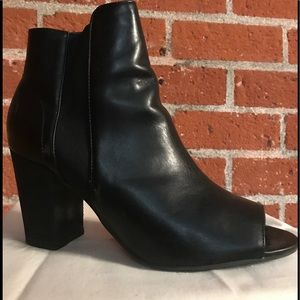 Black leather open toe shoe bootie